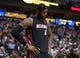 Feb 18, 2014; Dallas, TX, USA; Miami Heat small forward LeBron James (6) during the game against the Dallas Mavericks at the American Airlines Center. The Heat defeated the Mavericks  117-106. Mandatory Credit: Jerome Miron-USA TODAY Sports
