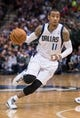 Feb 26, 2014; Dallas, TX, USA; Dallas Mavericks shooting guard Monta Ellis (11) during the game against the New Orleans Pelicans at the American Airlines Center. The Mavericks defeated the Pelicans 108-89. Mandatory Credit: Jerome Miron-USA TODAY Sports
