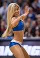 Feb 26, 2014; Dallas, TX, USA; The Dallas Mavericks dancers perform during the game between the Mavericks and the New Orleans Pelicans at the American Airlines Center. The Mavericks defeated the Pelicans 108-89. Mandatory Credit: Jerome Miron-USA TODAY Sports