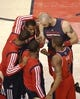 Feb 27, 2014; Toronto, Ontario, CAN; Washington Wizards center Marcin Gortat (4) and forward Trevor Booker (35) and forward Trevor Ariza (1) and guard John Wall (10) and guard Bradley Beal (3) huddle before the start of their game against the Toronto Raptors at Air Canada Centre. The Wizards beat the Raptors 134-129 in triple overtime. Mandatory Credit: Tom Szczerbowski-USA TODAY Sports
