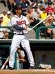 Mar 2, 2014; Lake Buena Vista, FL, USA; Atlanta Braves shortstop Andrelton Simmons (19) at bat against the Detroit Tigers at Champion Stadium. Mandatory Credit: Kim Klement-USA TODAY Sports