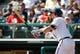 Mar 2, 2014; Lake Buena Vista, FL, USA; Atlanta Braves third baseman Chris Johnson (23) at bat against the Detroit Tigers at Champion Stadium. Mandatory Credit: Kim Klement-USA TODAY Sports