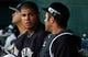 Feb 26, 2014; Bradenton, FL, USA; New York Yankees relief pitcher Dellin Betances (68) talk catcher Austin Romine (53) in the dugout between innings against the Pittsburgh Pirates at McKechnie Field. Mandatory Credit: Kim Klement-USA TODAY Sports
