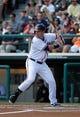 Mar 2, 2014; Lake Buena Vista, FL, USA; Atlanta Braves left fielder Joey Terdoslavich (25) at bat against the Detroit Tigers at Champion Stadium. Mandatory Credit: Kim Klement-USA TODAY Sports