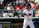 Mar 2, 2014; Lake Buena Vista, FL, USA; Atlanta Braves catcher Ryan Doumit (4) a bat against the Detroit Tigers at Champion Stadium. Mandatory Credit: Kim Klement-USA TODAY Sports