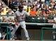 Mar 2, 2014; Lake Buena Vista, FL, USA; Detroit Tigers right fielder Torii Hunter (48) at bat against the Atlanta Braves at Champion Stadium. Mandatory Credit: Kim Klement-USA TODAY Sports