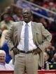 Mar 17, 2014; Houston, TX, USA; Utah Jazz head coach Tyrone Corbin reacts after a play during the second quarter against the Houston Rockets at Toyota Center. Mandatory Credit: Troy Taormina-USA TODAY Sports