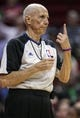 Mar 17, 2014; Houston, TX, USA; NBA referee Dick Bavetta (27) motions after a play during the second quarter of a game between the Houston Rockets and the Utah Jazz at Toyota Center. Mandatory Credit: Troy Taormina-USA TODAY Sports