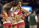 Mar 17, 2014; Houston, TX, USA; A Houston Rockets dancer performs before a game against the Utah Jazz at Toyota Center. Mandatory Credit: Troy Taormina-USA TODAY Sports