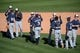 Mar 19, 2014; Peoria, AZ, USA; Milwaukee Brewers players celebrate after defeating the Seattle Mariners at Peoria Sports Complex. The Brewers won 9-7. Mandatory Credit: Joe Camporeale-USA TODAY Sports