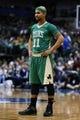 Mar 17, 2014; Dallas, TX, USA; Boston Celtics guard Jerryd Bayless (11) reacts during the game against the Dallas Mavericks at American Airlines Center. Dallas won 94-89. Mandatory Credit: Kevin Jairaj-USA TODAY Sports