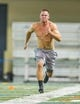 Mar 20, 2014; Notre Dame, IN, USA; Notre Dame Fighting Irish former football player Robby Toma runs sprints during Notre Dame pro day at the Guglielmino Athletics Complex. Mandatory Credit: Matt Cashore-USA TODAY Sports