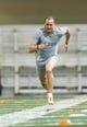 Mar 20, 2014; Notre Dame, IN, USA; Notre Dame Fighting Irish former football player Bennett Jackson runs sprints during Notre Dame pro day at the Guglielmino Athletics Complex. Mandatory Credit: Matt Cashore-USA TODAY Sports