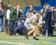 Mar 20, 2014; Notre Dame, IN, USA; Notre Dame Fighting Irish former football player Carol Calabrese runs a drill during Notre Dame pro day at the Guglielmino Athletics Complex. Mandatory Credit: Matt Cashore-USA TODAY Sports
