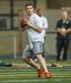 Mar 20, 2014; Notre Dame, IN, USA; Notre Dame Fighting Irish former football player Tommy Rees prepares to throw during Notre Dame pro day at the Guglielmino Athletics Complex. Mandatory Credit: Matt Cashore-USA TODAY Sports