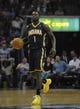 Mar 22, 2014; Memphis, TN, USA; Indiana Pacers guard Lance Stephenson (1) brings the ball up court during the game against the Memphis Grizzlies at FedExForum. Mandatory Credit: Justin Ford-USA TODAY Sports