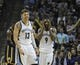 Mar 22, 2014; Memphis, TN, USA; Memphis Grizzlies forward Mike Miller (13) and Memphis Grizzlies guard Tony Allen (9) react to a call during the game against the Indiana Pacers at FedExForum. Memphis Grizzlies defeat the Indiana Pacers 82 - 71. Mandatory Credit: Justin Ford-USA TODAY Sports