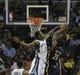 Mar 22, 2014; Memphis, TN, USA; Memphis Grizzlies guard Tony Allen (9) blocks the shot of Indiana Pacers center Ian Mahinmi (28) during the game at FedExForum. Memphis Grizzlies defeat the Indiana Pacers 82 - 71. Mandatory Credit: Justin Ford-USA TODAY Sports