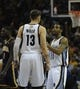 Mar 22, 2014; Memphis, TN, USA; Memphis Grizzlies guard Mike Conley (11) and Memphis Grizzlies center Marc Gasol (33) talk during the game against the Indiana Pacers at FedExForum. Memphis Grizzlies defeat the Indiana Pacers 82 - 71. Mandatory Credit: Justin Ford-USA TODAY Sports