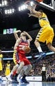 Mar 23, 2014; Denver, CO, USA; Denver Nuggets power forward Anthony Randolph (15) defends against Washington Wizards center Marcin Gortat (4) in the first quarter at the Pepsi Center. Mandatory Credit: Isaiah J. Downing-USA TODAY Sports