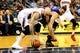 Mar 24, 2014; Atlanta, GA, USA; Atlanta Hawks center Pero Antic (6) and Phoenix Suns center Miles Plumlee (22) battle during the first half at Philips Arena. Mandatory Credit: Dale Zanine-USA TODAY Sports