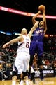 Mar 24, 2014; Atlanta, GA, USA; Phoenix Suns forward Markieff Morris (11) shoots a jump shot over Atlanta Hawks center Pero Antic (6) during the first half at Philips Arena. Mandatory Credit: Dale Zanine-USA TODAY Sports