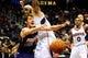 Mar 24, 2014; Atlanta, GA, USA; Phoenix Suns guard Goran Dragic (1) looses the ball after colliding with Atlanta Hawks center Pero Antic (6) during the first half at Philips Arena. Mandatory Credit: Dale Zanine-USA TODAY Sports