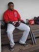 Mar 25, 2014; Mesa, AZ, USA; Los Angeles Angels shortstop Erick Aybar (2) sits in the dugout between innings against the Chicago Cubs at HoHoKam Park. Mandatory Credit: Rick Scuteri-USA TODAY Sports