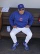 Mar 25, 2014; Mesa, AZ, USA; Chicago Cubs manager Rick Renteria (16) before a game against the Los Angeles Angels at HoHoKam Park. Mandatory Credit: ick Scuteri-USA TODAY Sports