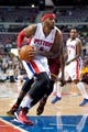 Mar 26, 2014; Auburn Hills, MI, USA; Detroit Pistons forward Josh Smith (6) goes to the basket during the first quarter against the Cleveland Cavaliers at The Palace of Auburn Hills. Mandatory Credit: Tim Fuller-USA TODAY Sports