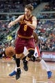 Mar 26, 2014; Auburn Hills, MI, USA; Cleveland Cavaliers guard Matthew Dellavedova (8) loses the ball during the third quarter against the Detroit Pistons at The Palace of Auburn Hills. Cleveland won 97-96. Mandatory Credit: Tim Fuller-USA TODAY Sports