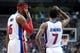 Mar 26, 2014; Auburn Hills, MI, USA; Detroit Pistons forward Josh Smith (6) talks with guard Brandon Jennings (7) during the fourth quarter against the Cleveland Cavaliers at The Palace of Auburn Hills. Cleveland won 97-96. Mandatory Credit: Tim Fuller-USA TODAY Sports