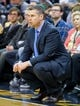 Mar 26, 2014; Salt Lake City, UT, USA; Memphis Grizzlies head coach David Joerger watches the action during the first half against the Utah Jazz at EnergySolutions Arena. Mandatory Credit: Russ Isabella-USA TODAY Sports