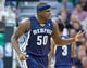 Mar 26, 2014; Salt Lake City, UT, USA; Memphis Grizzlies forward Zach Randolph (50) reacts to being taken out of the game during the second half against the Utah Jazz at EnergySolutions Arena. The Grizzlies won 91-87. Mandatory Credit: Russ Isabella-USA TODAY Sports
