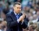 Mar 26, 2014; Salt Lake City, UT, USA; Memphis Grizzlies head coach David Joerger reacts during the second half against the Utah Jazz at EnergySolutions Arena. The Grizzlies won 91-87. Mandatory Credit: Russ Isabella-USA TODAY Sports
