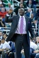 Mar 26, 2014; Salt Lake City, UT, USA; Utah Jazz head coach Tyrone Corbin signals to his players during the second half against the Memphis Grizzlies at EnergySolutions Arena. The Grizzlies won 91-87. Mandatory Credit: Russ Isabella-USA TODAY Sports