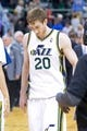 Mar 26, 2014; Salt Lake City, UT, USA; Utah Jazz guard Gordon Hayward (20) leaves the court after losing to the Memphis Grizzlies 91-87 at EnergySolutions Arena. Mandatory Credit: Russ Isabella-USA TODAY Sports