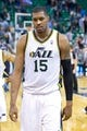 Mar 26, 2014; Salt Lake City, UT, USA; Utah Jazz center Derrick Favors (15) leaves the court after losing to the Memphis Grizzlies 91-87 at EnergySolutions Arena. Mandatory Credit: Russ Isabella-USA TODAY Sports