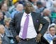 Mar 26, 2014; Salt Lake City, UT, USA; Utah Jazz head coach Tyrone Corbin watches the action during the second half against the Memphis Grizzlies at EnergySolutions Arena. The Grizzlies won 91-87. Mandatory Credit: Russ Isabella-USA TODAY Sports