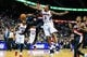 Mar 27, 2014; Atlanta, GA, USA; Portland Trail Blazers guard Mo Williams (25) passes around Atlanta Hawks guard Louis Williams (3) in the first half at Philips Arena. Mandatory Credit: Daniel Shirey-USA TODAY Sports