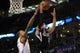 Mar 28, 2014; Oklahoma City, OK, USA; Sacramento Kings guard Ray McCallum (3) attempts a shot against Oklahoma City Thunder forward Kevin Durant (35) during the first quarter at Chesapeake Energy Arena. Mandatory Credit: Mark D. Smith-USA TODAY Sports