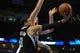 Mar 28, 2014; Oklahoma City, OK, USA; Sacramento Kings guard Ray McCallum (3) attempts a shot against Oklahoma City Thunder forward Nick Collison (4) during the second quarter at Chesapeake Energy Arena. Mandatory Credit: Mark D. Smith-USA TODAY Sports