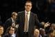 Mar 28, 2014; Oklahoma City, OK, USA; Oklahoma City Thunder head coach Scott Brooks reacts to a play in action against the Sacramento Kings at Chesapeake Energy Arena. Mandatory Credit: Mark D. Smith-USA TODAY Sports