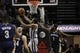 Mar 29, 2014; San Antonio, TX, USA; San Antonio Spurs forward Kawhi Leonard (2) shoots the ball past New Orleans Pelicans forward Tyreke Evans (1) during the first half at AT&T Center. Mandatory Credit: Soobum Im-USA TODAY Sports