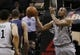 Mar 29, 2014; San Antonio, TX, USA; San Antonio Spurs forward Boris Diaw (33) passes the ball under the basket against the New Orleans Pelicans during the first half at AT&T Center. Mandatory Credit: Soobum Im-USA TODAY Sports