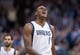 Mar 29, 2014; Dallas, TX, USA; Dallas Mavericks center Samuel Dalembert (1) celebrates making a basket during the second half against the Sacramento Kings at the American Airlines Center. The Mavericks defeated the Kings 103-100. Mandatory Credit: Jerome Miron-USA TODAY Sports