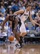 Mar 29, 2014; Dallas, TX, USA; Sacramento Kings forward Reggie Evans (30) steals the ball from Dallas Mavericks forward Dirk Nowitzki (41) during the second half at the American Airlines Center. The Mavericks defeated the Kings 103-100. Mandatory Credit: Jerome Miron-USA TODAY Sports