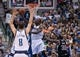 Mar 29, 2014; Dallas, TX, USA; Dallas Mavericks center Samuel Dalembert (1) makes a shot from under the basket against the Sacramento Kings during the second half at the American Airlines Center. The Mavericks defeated the Kings 103-100. Mandatory Credit: Jerome Miron-USA TODAY Sports