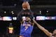 Mar 30, 2014; Oakland, CA, USA; New York Knicks forward Carmelo Anthony (7) shoots the ball against the Golden State Warriors in the first quarter at Oracle Arena. The Knicks won 89-84. Mandatory Credit: Cary Edmondson-USA TODAY Sports