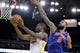Mar 30, 2014; Oakland, CA, USA; Golden State Warriors forward Harrison Barnes (40) shoots the ball as New York Knicks center Tyson Chandler (6) defends in the third quarter at Oracle Arena. The Knicks won 89-84. Mandatory Credit: Cary Edmondson-USA TODAY Sports